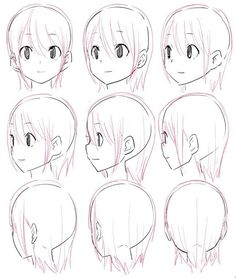 Drawing Faces Side View Character Design Ideas For 2019 - - Drawing Heads, Drawing Base, Figure Drawing, Anime Drawings Sketches, Anime Sketch, Art Drawings, Manga Drawing Tutorials, Art Tutorials, Manga Art