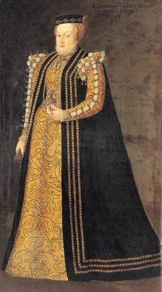 1557 Catherine of Austria by Monogrammist PF (Germanisches Nationalmuseum - Nuremberg Germany) Elizabethan Clothing, Elizabethan Fashion, Tudor Fashion, Elizabethan Era, Renaissance Mode, Renaissance Fashion, Renaissance Clothing, 16th Century Clothing, 16th Century Fashion