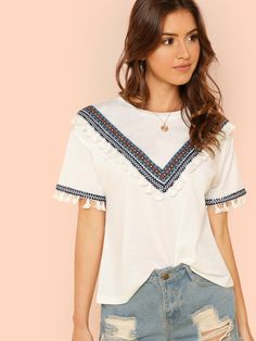 f96c89a481f Embroidered Tape   Tassel Embellished T-shirt Embroidery Fabric