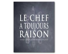 French Kitchen Wall Art  Le chef a by SusanNewberryDesigns on Etsy