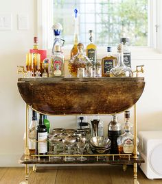 Tequila Shores: A goatskin parchment bar cart ensures cocktails are at the ready whenever guests arrive.