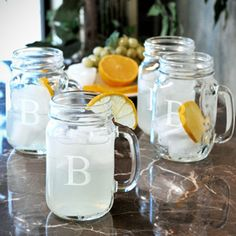 Mason Jar Drinking Glasses Favors: the guest can write his or her name on (with a simple tag + marker or chalkboard paint + chalk, pre-made) and use to fill up with drinks throughout the night.