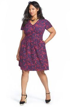 Plus Size V-Neck Flutter Sleeve Fit & Flare Dress