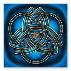 Stunning and unique doubled Celtic triquetra knotwork in sea blue and gold with triple rings on a flared blue light and black background. Celtic Triquetra, Celtic Art, Celtic Knots, Celtic Mandala, Celtic Dragon, Irish Celtic Symbols, Celtic Crosses, Celtic Love Knot, Mayan Symbols
