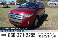 2013 Ford Edge SEL - Sport Utility Vehicle - V6 3.5L Engine - Keypad Door Lock - Alloy Wheels - Spoiler - Tinted Windows - Fog Lights - Leather Seats - Safety Airbags - Power Windows, Locks and Mirrors - Seats 5 - Folding 2nd Row - AM/FM/CD/SIRIUS Satellite - iPod/Aux/USB Ports - Bluetooth - SYNC by Microsoft - Backup Camera - Cruise Control - Remote Keyless Entry - Digital Compass - Outside Temperature Display - Heated Front Seats and more!