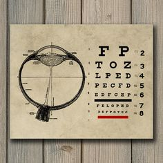 Vintage Ophthalmologist Eye Chart Print by NiftyPrintables                                                                                                                                                                                 More