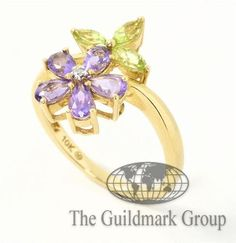 New 10K Yellow Gold Amethyst and Peridot Diamond Flower Ring 7.0 US Retail: $1,230 - 0.01 cttw - 3.0 Grams - Free Shipping