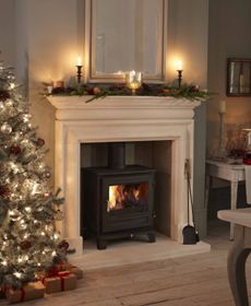 The Belgravia multi-fuel stove in Ivory that I want to fit in the dining room fireplace. My Living Room, Home And Living, Living Room Decor, Dining Room, Fireplace Surrounds, Fireplace Design, Fireplace Ideas, Simple Fireplace, White Fireplace
