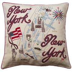 New York Map Cushion from Jan Constantine Diy Pillows, Sofa Pillows, Throw Pillows, Map Of New York, Wedding Gift List, Luxury Cushions, Queen News, Perfect Pillow