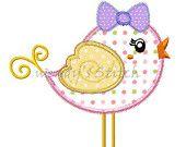 Girl bird applique machine embroidery design digtial pattern