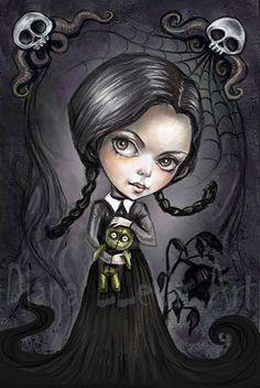 """Gloomy Goth Girl - 8.5"""" x 11"""" Wednesday Addams Print -Cute Creepy Art by GhoulishBunnyStudios on Etsy https://www.etsy.com/listing/228530643/gloomy-goth-girl-85-x-11-wednesday"""