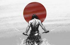 Framed Print - Samurai Ninja Kneeling To A Red Sun (Picture Poster Art Fighting) #ebay #Home & Garden
