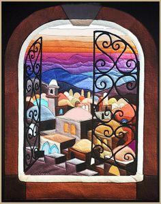 My creation Open a window to Jerusalem. Hamsa Painting, Arte Judaica, Mobile Art, Jewish Art, Stained Glass Patterns, Reno, Mini Quilts, Illuminated Manuscript, Mosaic Art