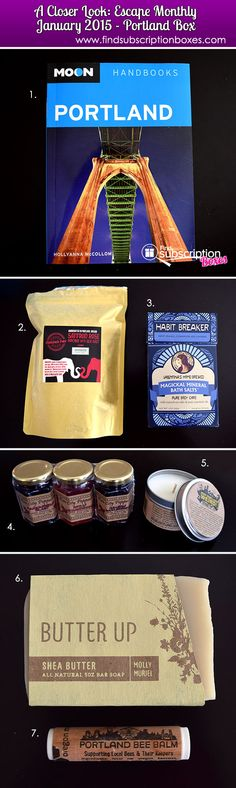 The January 2015 Escape Monthly Portland box is one of our favorite destination boxes so far. Read our full box review to see the luxury products from Portland, Oregon that were in last month's vacay box.  http://www.findsubscriptionboxes.com/a-closer-look/escape-monthly-january-2015-portland-box-review-022015/