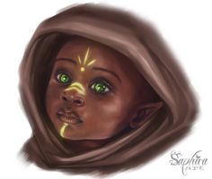 [OC] Wood Elf Baby, made by my wife. Meet little Anihar! : characterdrawing