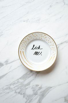 A fun decorative plate for your kitchen! Hand painted on vintage porcelain, each plate is one of a kind and unique. Created using food-safe paints,