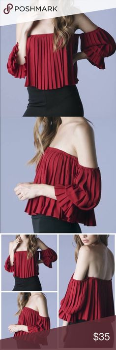 Wine Pleated Top Wine Ofd Shoulder Pleated Cropped Top Tops Crop Tops