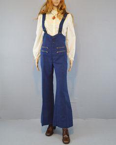 1970s Suspender Bell Bottom Pants / Vintage Boutique Trousers / Zipper & Button Details / Vintage Overalls / 70s Jumpsuit / Small by ReverieVintageLA, $145.00