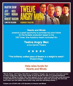 See Twelve Angry Men and raise funds for Hearts and Minds Martin Shaw, Robert Vaughn, Price Tickets, Raise Funds, Heart And Mind, Fundraising, Hearts, Mindfulness, Boss
