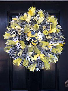 Large Whimsical Mesh Wreath Black White by DesignTwentyNineSC, $77.50