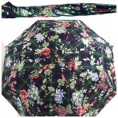 Vintage Ralph Lauren Green Blue Floral Plaid Wood Handle Umbrella | eBay