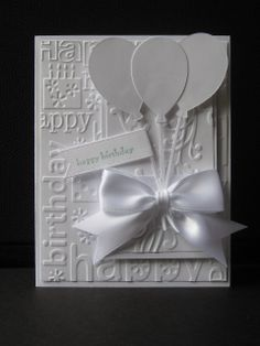 Monday, May 2014 Birthday in white by jdmommy - Cards and Paper Crafts at Splitcoaststampers birthday balloons Birthday Cards For Women, Handmade Birthday Cards, Happy Birthday Cards, Greeting Cards Handmade, Pretty Cards, Cute Cards, Cricut Cards, Stampin Up Cards, Bday Cards