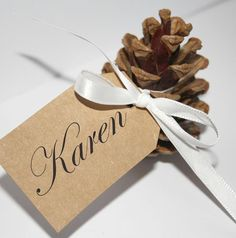 So you can make original Christmas place cards Christmas table decorations place cards make your own pine cones Christmas Place Cards, Christmas Names, Thanksgiving Place Cards, Christmas Table Settings, Christmas Table Decorations, Christmas Diy, Christmas Place Setting, Pinecone Wedding Decorations, Fall Place Cards