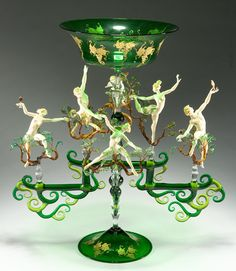 "Lucio Bubacco ""Bacchanal in the Trees"" Item #41164 flameworked glass 19 x 18 x 9 $18,000"