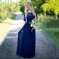 Bateau Neck Short Sleeves A-line Bridesmaid Dress, Dark Blue Lace Sequins Bridesmaid Dress, Chiffon Long Bridesmaid Dress, #01012910
