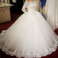 lace long sleeves tulle ball gowns wedding dresses off the shoulder  G304