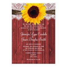 Rustic Sunflower Red Barn Wood Wedding Invitations for a barn wedding.