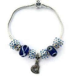 Blue Sapphire & Heart Beaded Bracelet by JannysStorybeads on Etsy, $40.00