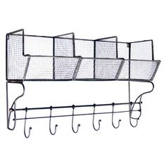 Wall rack with bins and hooks.  Product: Wall rackConstruction Material: MetalColor: Gray ...