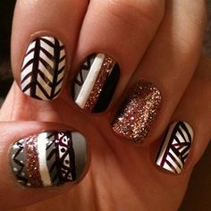 Aztec tribal nails for fall/winter! Get Nails, Love Nails, How To Do Nails, Pretty Nails, Hair And Nails, Nail Art Designs, Manicure, Tribal Nails, Cute Nail Art