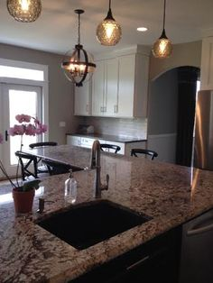 Bianco Antico Granite With Gray Subway Tiles Remodel
