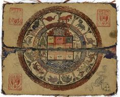 This untitled manuscript from the 19th century contains dozens of charts used by Mongolian astrologers, who were generally Buddhist monks. They used these charts to calculate calendars and events based on the positions of planets, the Sun, the Moon, and the constellations. The text and charts in the book largely follow Tibetan traditions, and specifically, the text of Kalacakra Tantra, which was introduced to Tibet in the 1024, and is closely associated with Buddhist cosmology.