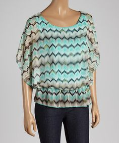 Another great find on #zulily! Teal Zigzag Blouson Top by Tua #zulilyfinds