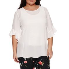 d77713aaf2a15 Worthington® Flutter Sleeve Crew Neck Woven Blouse - Plus - JCPenney