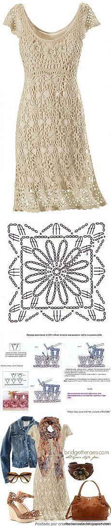"""Платье из цветочных мотивов. More [ """"Crochet dress or tunic"""" ] #<br/> # #Crochet #Motif,<br/> # #Crochet #Patterns,<br/> # #Crochet #Dresses,<br/> # #Sun #Dresses,<br/> # #Knitting,<br/> # #More #More,<br/> # #Clothes,<br/> # #Skirts,<br/> # #Crochet<br/>"""