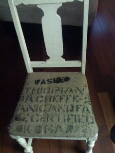 reupholstered this chair with a burlap coffee bag
