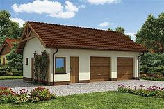 Projekt domu Simon energo plus - koszt budowy 239 tys. Modern Bungalow Exterior, Bungalow House Design, Modern House Design, U Shaped House Plans, Small House Plans, Morden House, One Storey House, Brick Siding, Cottage Style Homes
