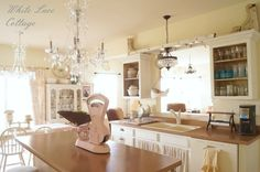 Crystal Chandeliers Shabby Romantic Kitchen - White Lace Cottage