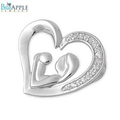Mother and Child 20mm Pendant Solid 925 Sterling Silver Heart Necklace Rhinestone Micro Pave Clear CZ Lovers Daughter Mothers Day Daily Gift