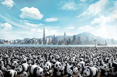 French artist Paulo Grangeon, together with the World Wildlife Fund, decided to create 1,600 little paper-mache pandas in Taiwan and take th...