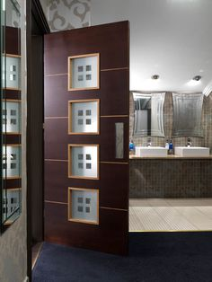 Glazed internal door stained with a dark walnut finish and light coloured grooves & beads. Attractive etched glass panels. JB Kind's Zodiac - Libra #glazeddoor
