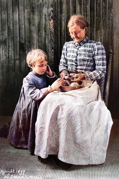 "Original photo was taken in or around Asheville, North Carolina in 1897. Colorized by Steve Smith. #potatoes #elderly #grandmother #child #children ""northcarolina #homemaker #chores #food"