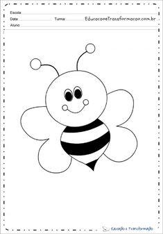 Desenho de animal para colorir e imprimir - Desenhos de animais Bee, Snoopy, Symbols, Letters, Fine Motor, Fictional Characters, Print Coloring Pages, Tame Animals, Small Animals