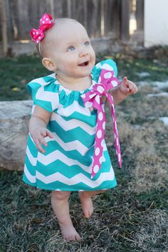 Turquoise Teal Chevron Pink Polka Dot Bow Peasant Dress - Baby Girl on Etsy, $27.50