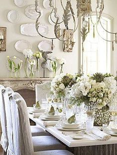 love the platters on wall! Romantic Rustic Dining Room8 18 Rustic & Romantic Dining Rooms