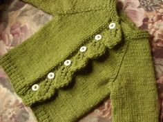 Sweater I knit for hubby's cousin's new baby girl. I love leaves!